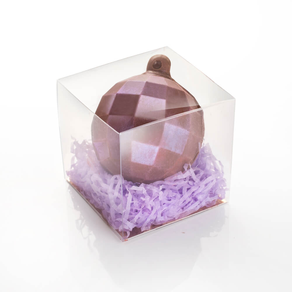 Milk Chocolate Bauble in Lilac Shimmer.