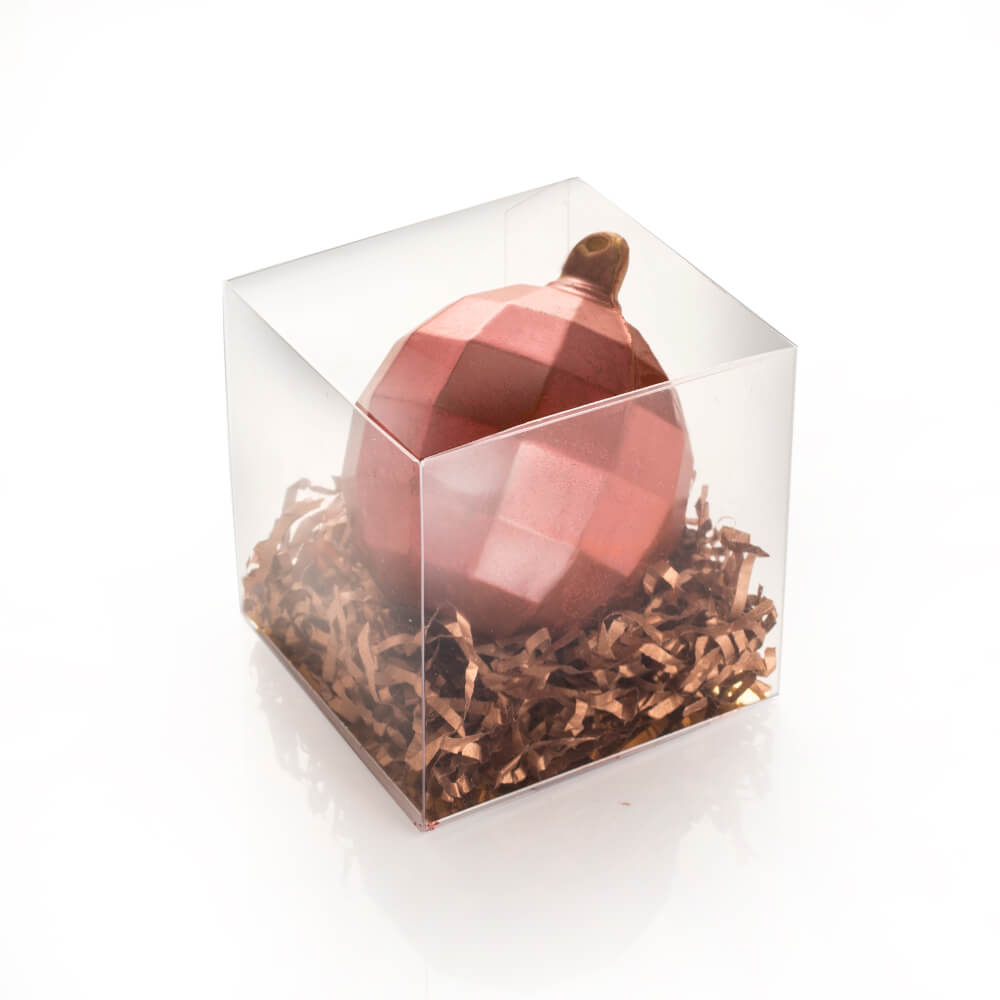 Milk Chocolate Bauble in Red Shimmer.
