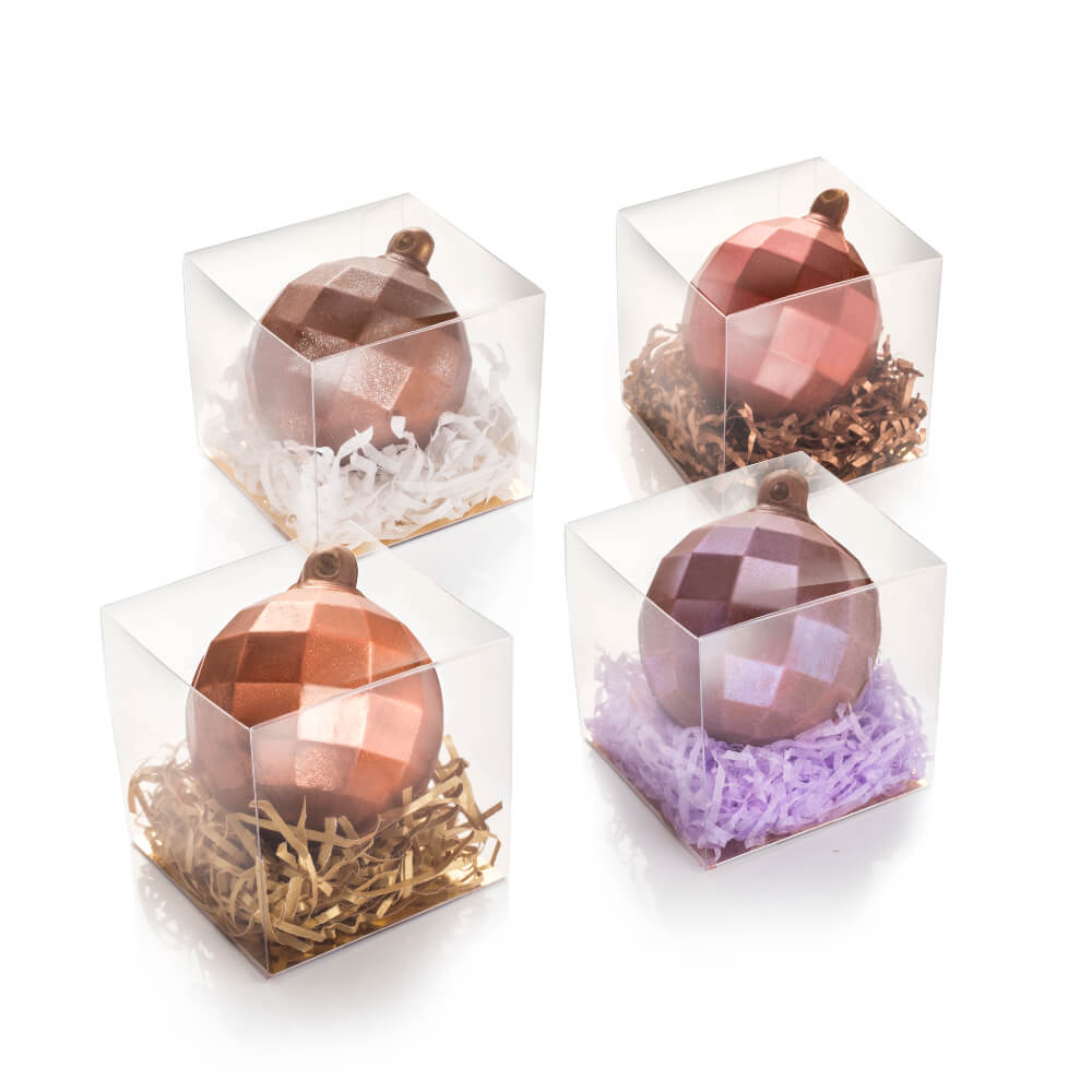 Milk Chocolate Christmas Baubles in four colours.