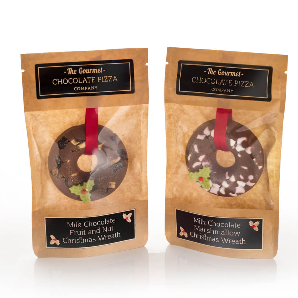 Milk chocolate christmas wreaths in two flavours - fruit & nut or marshmallow.