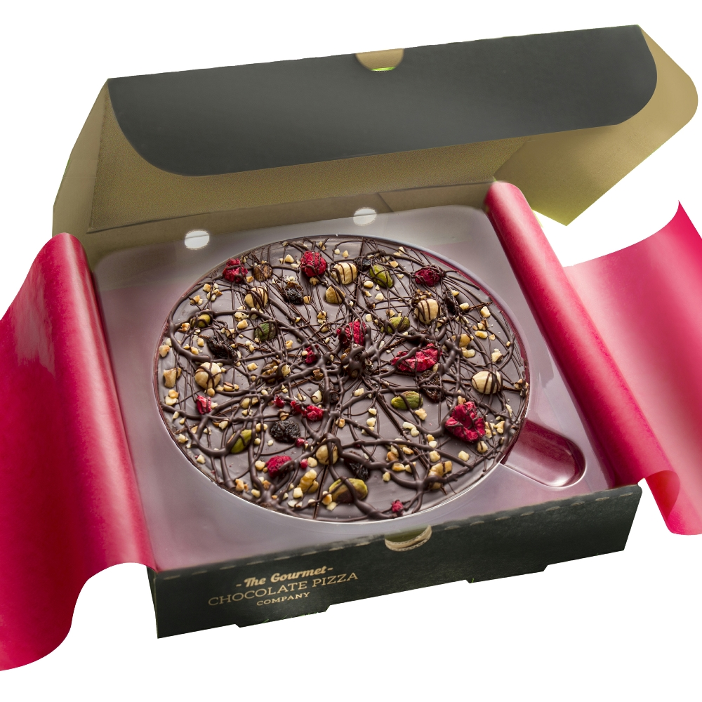 Decadent Dark Chocolate Pizza - perfect for vegans made with 70% cocoa.