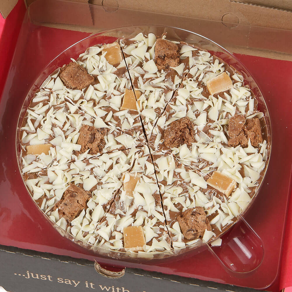 Crunchy Munchy Chocolate Pizza includes Brownie Biscuit and Vanilla Fudge