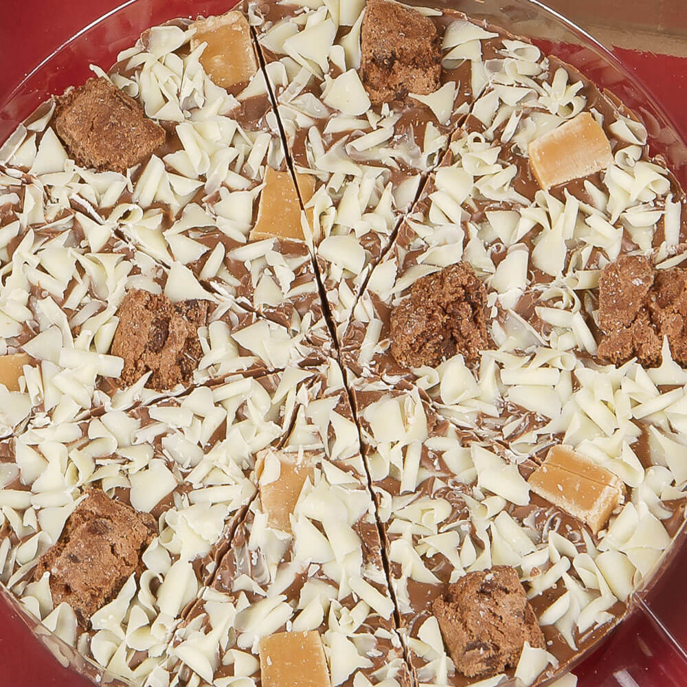 Close up of 7 inch Crunchy Munchy Chocolate Pizza