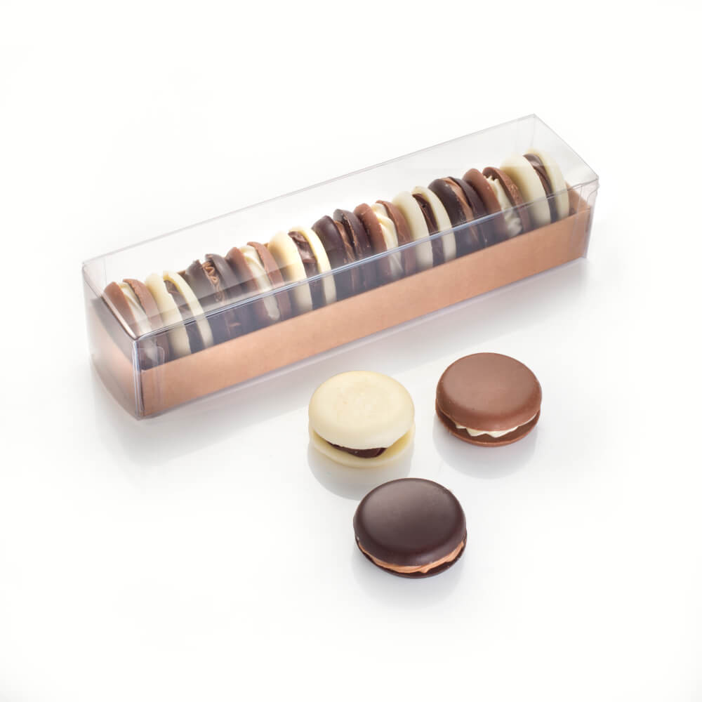 Belgian Chocolate Macarons - our take on a bakery classic sees creamy fillings sandwiched between solid Belgian chocolate discs.