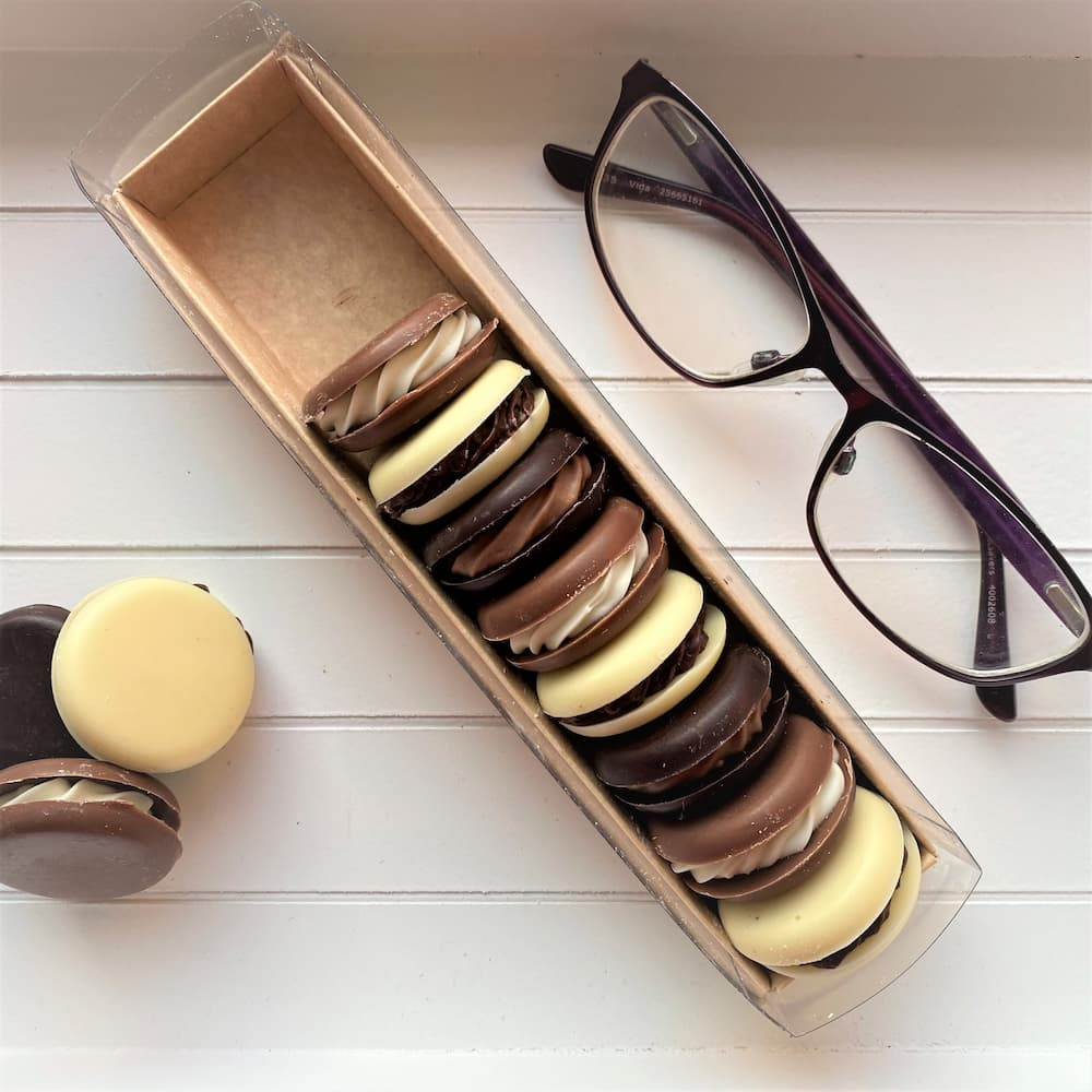 Treat yourself to a little 'me' time with our delicious chocolate macarons.