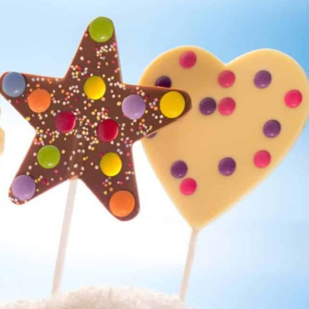 Our chunky Star & Heart chocolate lollipops are availble in both milk & white chocolate.