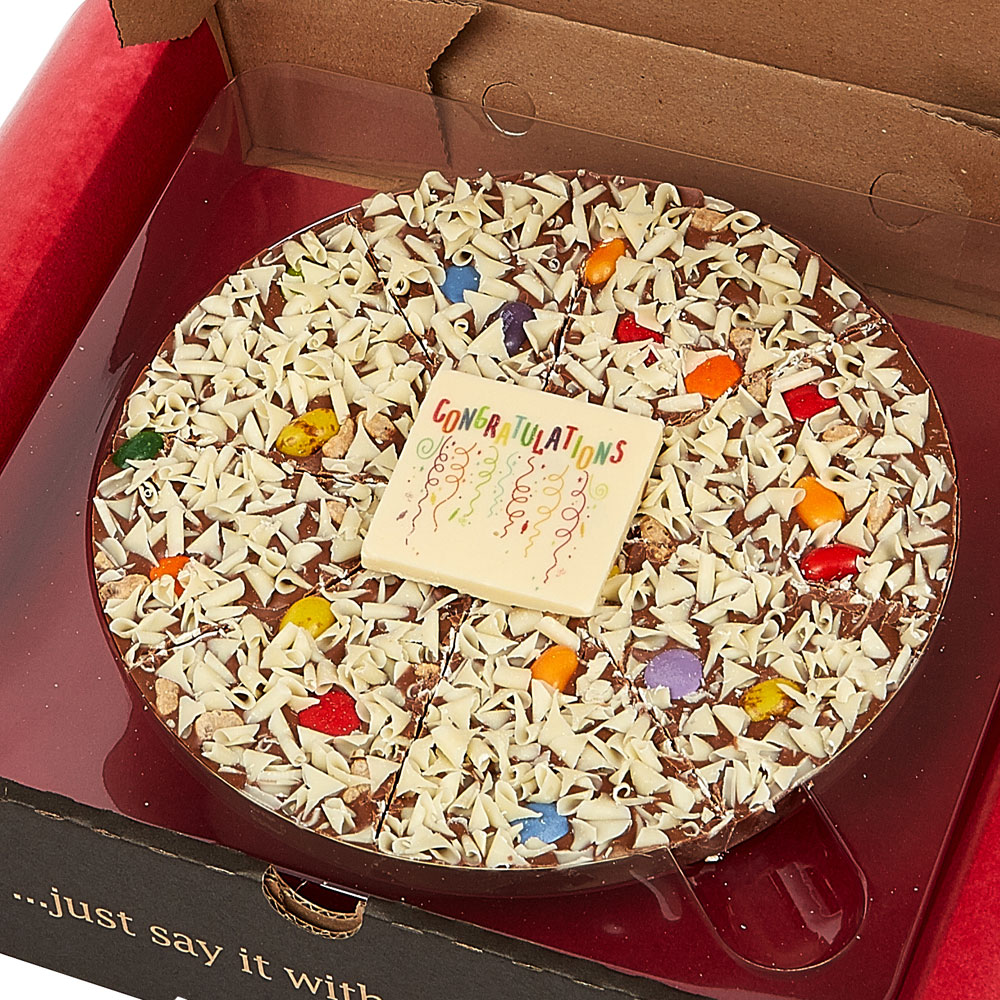 Our Congratulations Chocolate Pizza is the perfect celebratory gift.