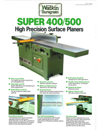 Wadkin Super 400 500 (S400, S500) Surface Planer