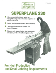 Wadkin Superplane (S230) Surface Planer