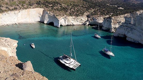 Cabin charter in Greece headed to Milos